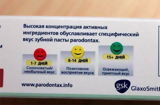 Отличительной особенностью зубных паст Парадонтакс является довольно-таки неприятный вкус, к которому, однако, со временем можно привыкнуть.